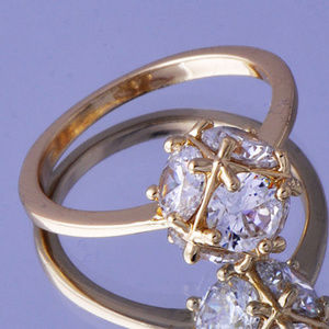 Jewelry - 😍 Clear Crystal Ball Yellow Gold Filled Ring 😍